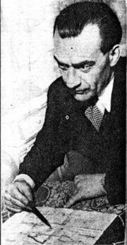 """Rudolf Schriever nel 1950 mentre sta disegnando uno schizzo della sua """"invenzione"""""""